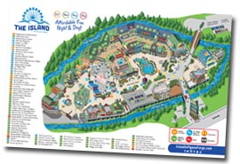 Pigeon Forge Restaurants at The Island Map