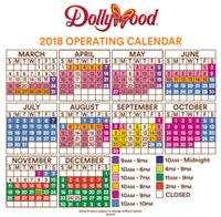 Dollywood Hours - 2018 Operating Calendar