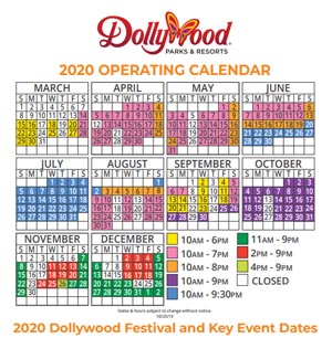 2020 Dollywood Dates and Hours