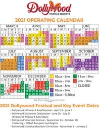 Dollywood Operating Calendar 2021